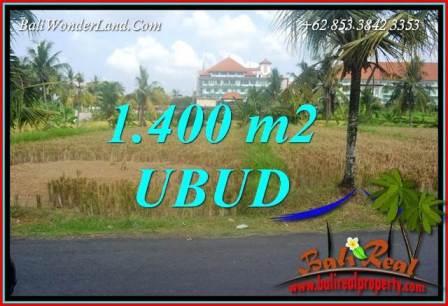 Tanah Murah  di Ubud Bali Dijual 1,400 m2  View sawah lingk. Villa