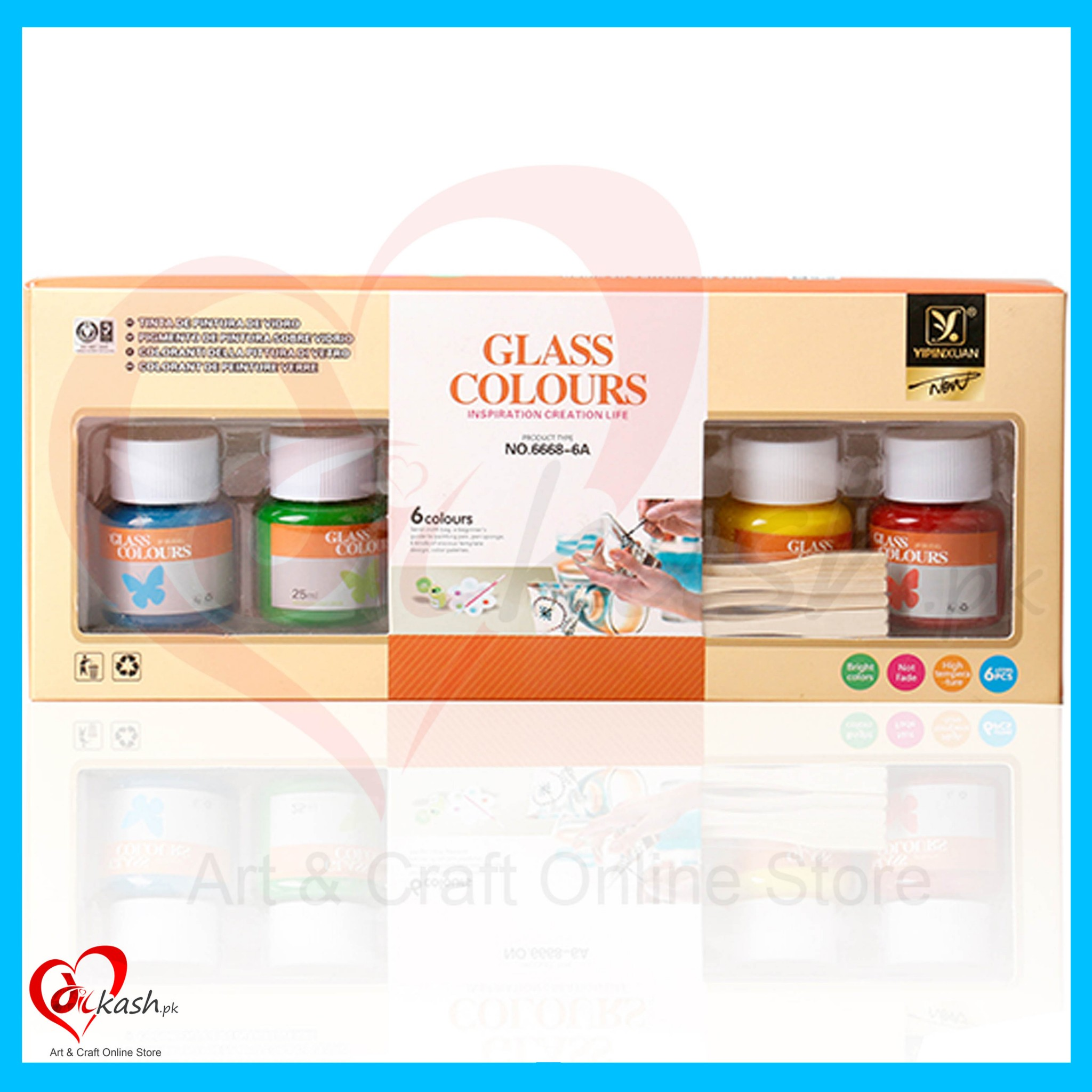 Glass Painting Kit 25ml 6 pcs with color Palette & Brush 6946320090687