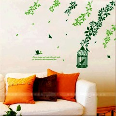 Wall Decor Stickers - Green Leaves Cage Wall Stickers - XY-1001