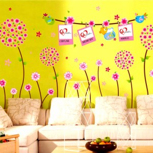 Wall Decor Stickers - Pink Flowers with Photo Frame Wall Stickers - XY-1102
