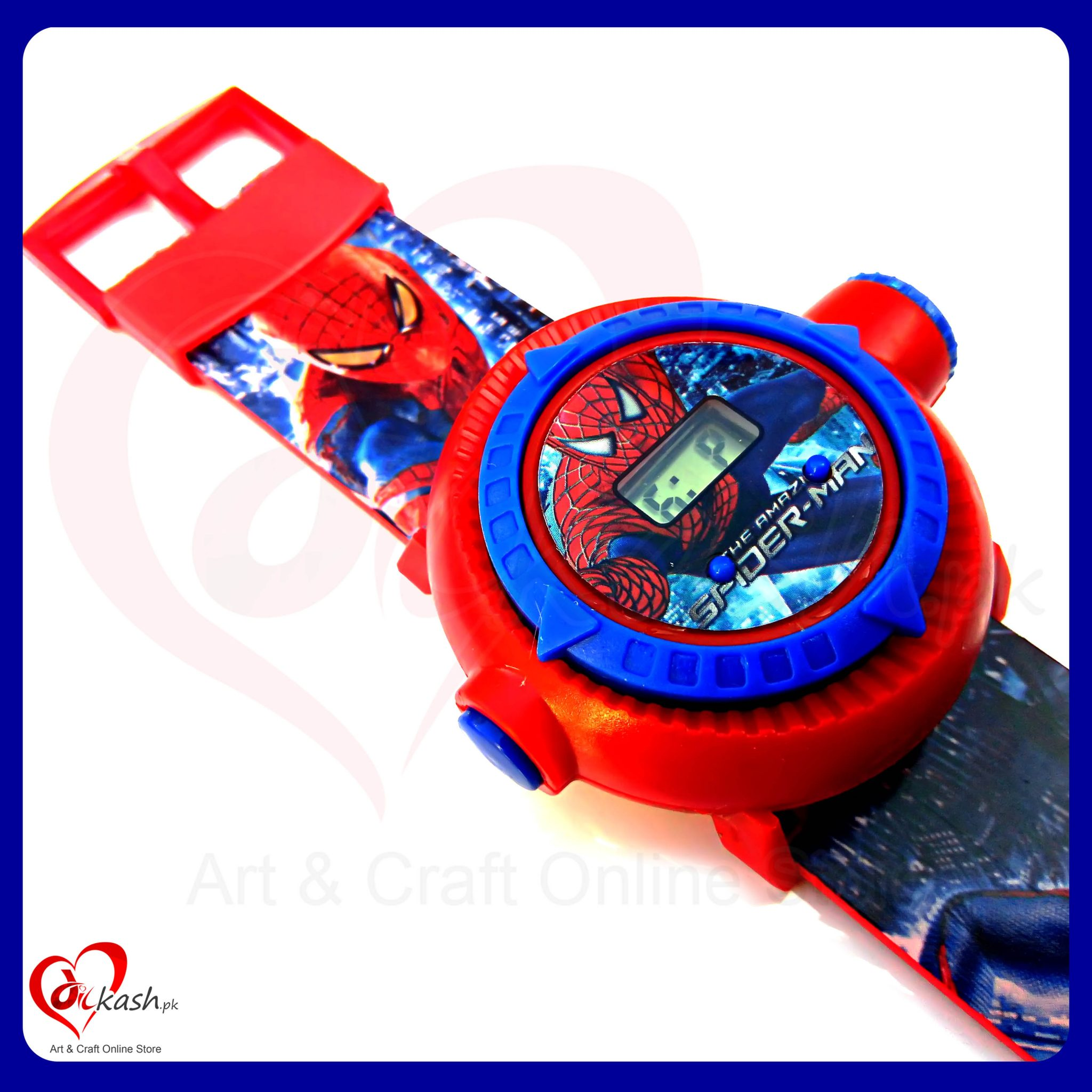 Kids Watches with Inbuilt 10 Projector Image of Spiderman