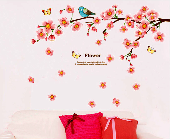 Wall Decor Stickers - Peach Flower Wall Stickers - JM7296