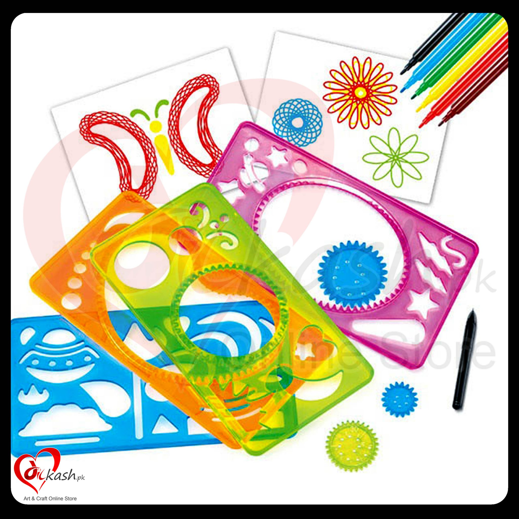 Spirograph Kit - Spirograph Deluxe Design Set HM1303A Stencils + Markers 4019400013035
