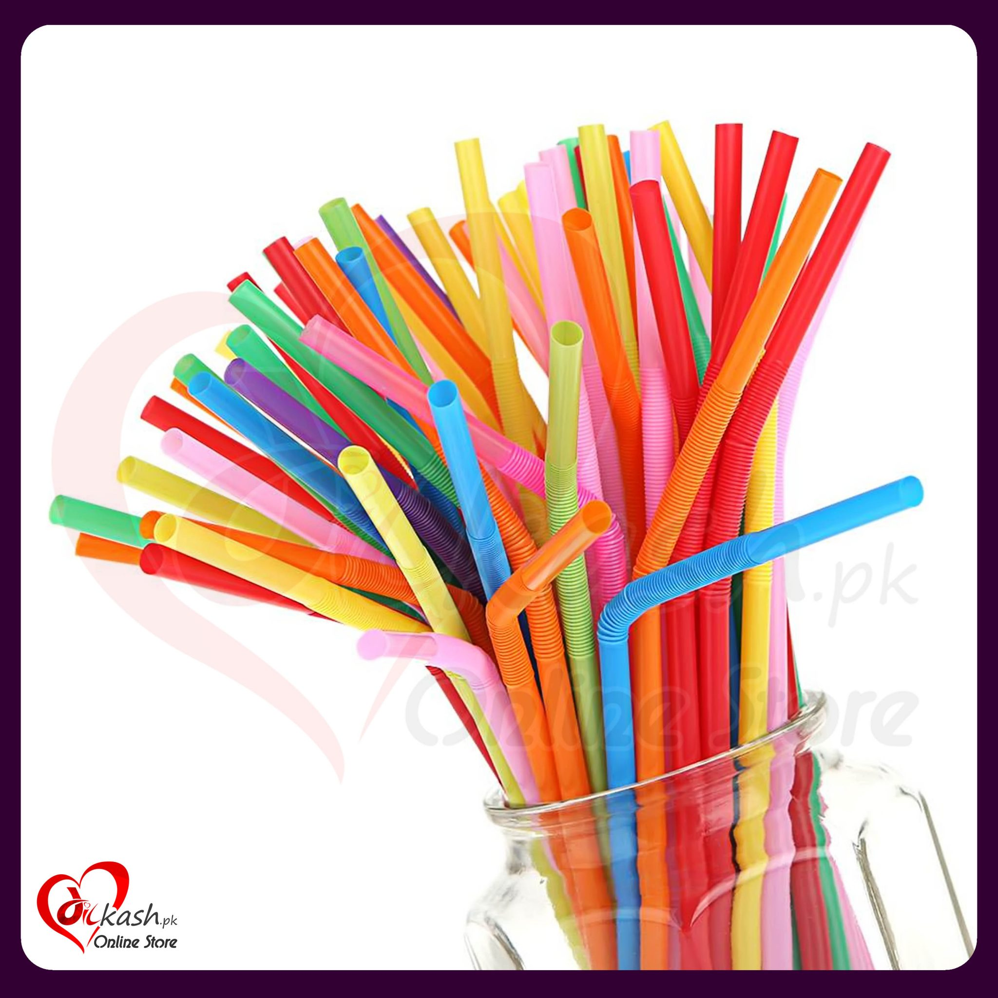 Colorful Flexible Bendable Reusable Straws Dilkash Online Store