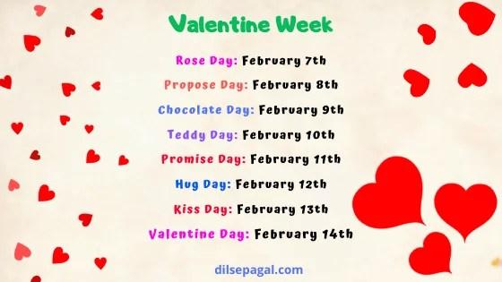 Valentine day week -  Valentine day week list 2020