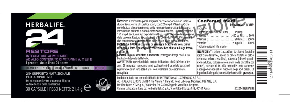 etichetta Herbalife24 restore