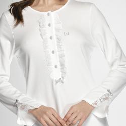 Camicia da notte Liu Jo donna art. Rouche Pizzo Pigiama in elegantissimo COTONE aperta avanti con applicazione che la rende adatta a tutti i gusti anche quelli più esigenti. COMPOSIZIONE TESSUTO: 100%COTONE