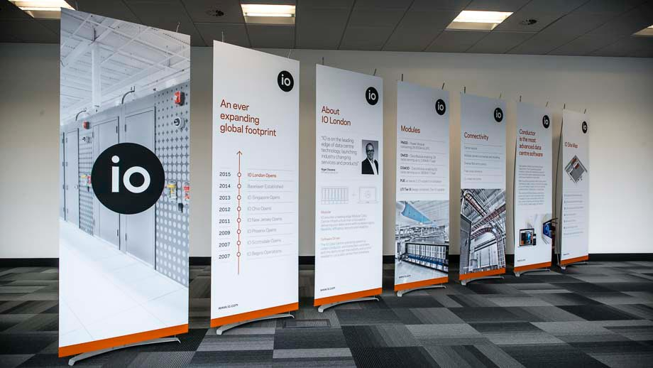 80cm wide banner stands for IO.com UK launch event
