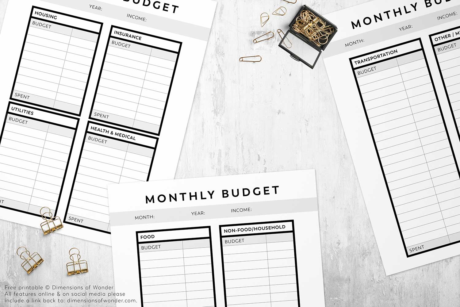 Printable Monthly Budget Planner With A Minimalist No
