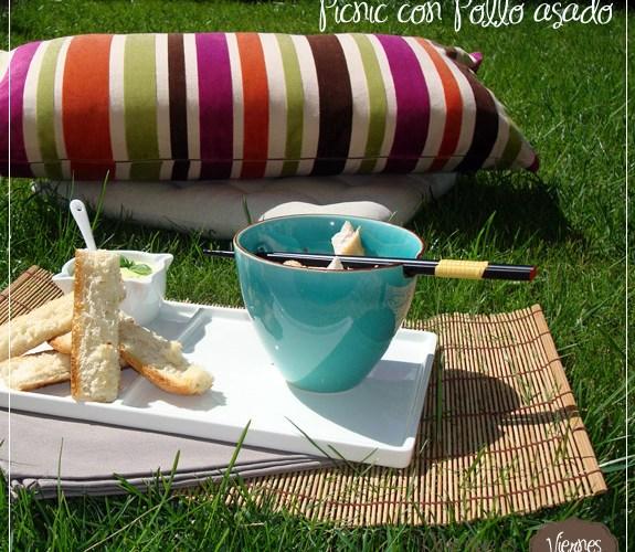 {Coletazos de verano}: Picnic con pollo asado y alioli de albahaca