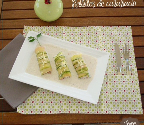 Canelones de calabacín rellenos de arroz y gambas