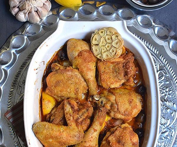 Pollo Mediterráneo con limon y aceitunas