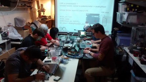 the previous Arduino workshop at DSL on 25 March 2015