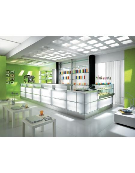 Bar per un caffè e uno scatto è tanta; Arredamento Bar Moderno Con Frontale Illuminato A Led Linee Bar Arredamento Bar Panifici