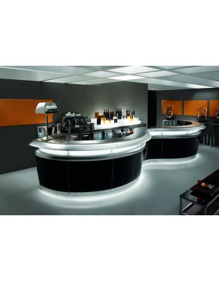 La scelta dei tavoli, delle sedie, del bancone, dell'illuminazione e degli accessori. Arredamento Bar Moderno Con Illuminazione A Led Inferiore Linee Bar Arredamento Bar Panifici Salumerie Macellerie