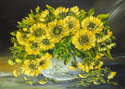 Vaso di girasoli 2003, oil on canvas, 50x70 cm