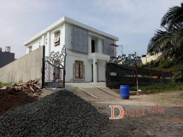3d wall panel untuk eksterior di Villa Serpong