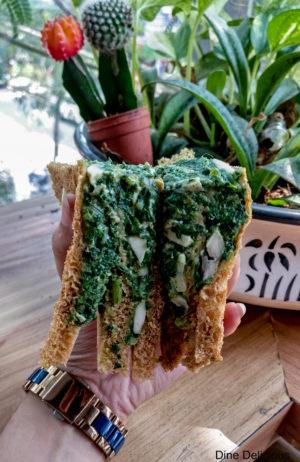 Cheesy Spinach & Mushroom Sandwich