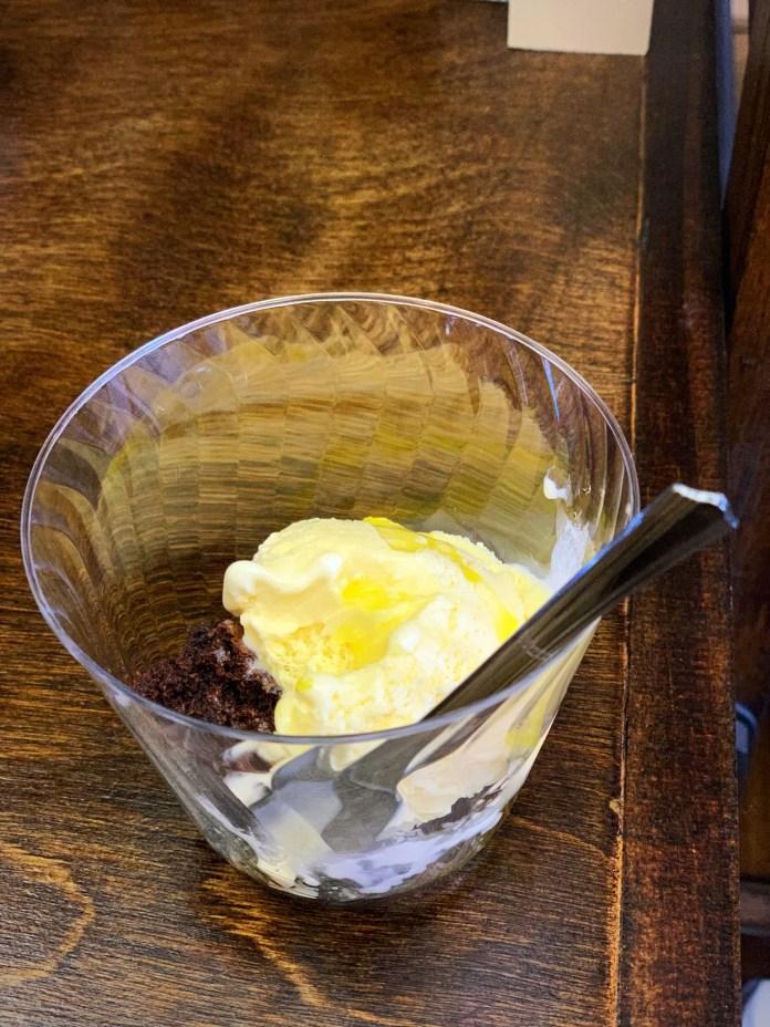 Blood Orange Olive Oil on Ice Cream and Brownie