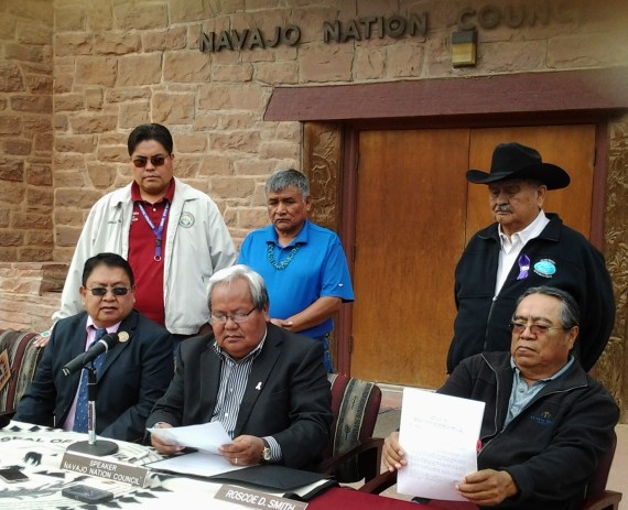 Navajo Nation Speaker Johnny Naize held a signing ceremony in front of the Navajo Council chamber in Window Rock, Ariz., on Oct. 24 for key Council legislation regarding the tribe's purchase of BHP Billiton's coal mine. (L-R) (Sitting) Delegate Mel Begay, Speaker Naize, Delegate Roscoe Smith. (Standing) Delegates Joshua Butler, George Apachito, Charles Damon II. Photo by Marley Shebala
