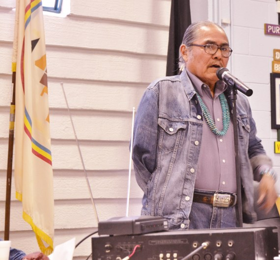 "Shiprock, N.M., Chapter President Duane ""Chili"" Yazzie explained proposed resolution in Navajo and English that addressed criminal charges against Speaker Naize and the Council purchase of BHP coal mine at Shiprock Chapter on Jan. 6, 2014. Photo by Marley Shebala"
