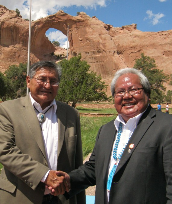 Navajo Nation President Ben Shelly and Council Speaker Johnny Naize at Shelly's signing ceremony for Navajo Generating Station lease renewal at the Navajo Nation Veterans Memorial Park in Window Rock, Ariz., on July 30, 2013. Photo by Marley Shebala
