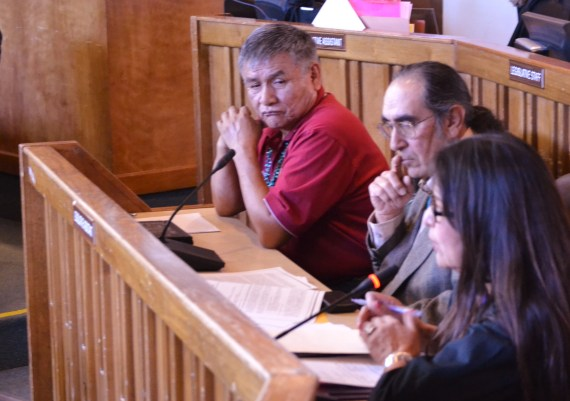 (L-R) Navajo Council Delegate George Apachito, former Navajo Area BIA Director Omar Bradley and President Shelly's Staff Assistant Geri Harrison presenting legislation to confirm Bradley to tribal Gaming Enterprise Board on Feb. 13, 2014. Photo by Marley Shebala