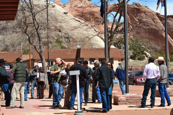 After the Navajo Council votes for executive session to talk with Speaker Nazie, people, who were in the Navajo Council gallery, stand outside the Council chamber in Window Rock, Ariz., on April 4, 2014. Photo by Marley Shebala