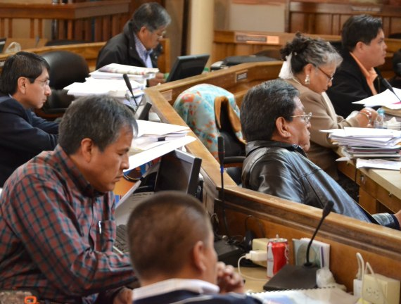 The Navajo Council went behind closed doors to talk with Speaker Johnny Naize for about two hours on April 4, 2014. After the closed door meeting, the Council voted 12 in favor, 0 opposed to place Naize on administrative leave. (L-R rows starting from top) Delegates Leonard Pete, Jonathan Nez, Kenneth Maryboy and Jonathan Hale. Delegates Joshua Lavar Butler, Katherine Benally and Russell Begaye. Maryboy and Benally were among several delegates who walked out of the council meeting before the vote to place Naize on administrative leave. Photo by Marley Shebala