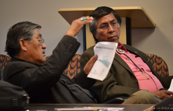 Navajo Council Resources & Development Committee's Subcommittee Vice Chairperson Leonard Pete and Chairperson Leonard Tsosie are working on a very controversial draft agreement between URI and the Navajo Nation for an In-Situ Uranium Mining Demonstration Project near Church Rock, N.M. The subcommittee was meeting with URI at the tribal Economic Development Division in St. Michaels, Ariz. on April 30, 2014. Photo by Marley Shebala.