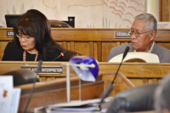 Navajo Housing Authority Chief Financial Officer Marlene Lynch and NHA Board President Edward T. Begay report to the Navajo Council's Resources & Development Committee and Naabik'iyati Committee on a federal notice to NHA to give back $102 million in unspent federal housing dollars during a meeting at the Navajo Council chamber in Window Rock, Ariz., on May 28, 2014. Photo by Marley Shebala.