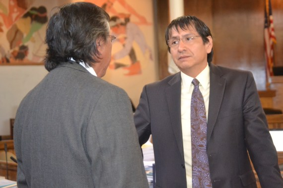 """(L-R) Navajo Council Delegates Leonard Tsosie and Jonathan Nez were among the 13 delegates to vote """"Yes"""" on a $554 million settlement of a lawsuit filed by the Navajo Nation against the U.S. for alleged misuse of tribal trust fund. The Council votes was 13 in favor, 3 opposed on May 30, 2014. Photo by Marley Shebala"""