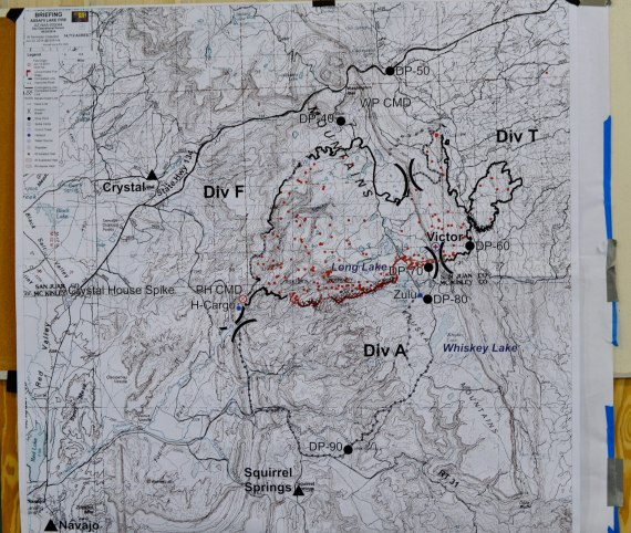 "The map of the Asaayi Fire that the Southwest Incident Management Team 3 presented during their daily morning fire update at the Tse Hootsooi Middle School ""Tin Building"" in Fort Defiance, Ariz., on June 24, 2014 that showed 70 percent containment of the fire. And at the end of the day, the fire was 80 percent contained. Photo by Marley Shebala. (Please give proper photo credit when reusing photo.)"
