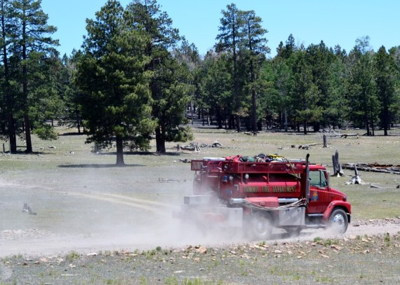 The Summit Fire Department engine heads out to the Asaayii Fire line to provide water on June 20, 2014. Photo by Marley Shebala. (Please provide proper photo credit when reusing photo.)