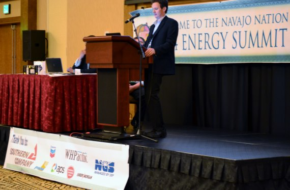 U.S. Bureau of Reclamatin Deputy Regional Director Lower Colorado Region David M. Palumbo and another BOR staff, Kevin Black, made presentation on how Navajo Generating Station is a Navajo Nation energy development opportunity.  Photo by Marley Shebala. (Please provide proper photo credit when reusing photo.)