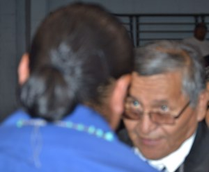 Navajo Nation President Ben Shelly congratulates presidential candidate Chris Deschene in the Window Rock, Ariz., Sport Center on Aug. 26, 2014. Photo by Marley Shebala. (Please provide proper photo credit when reusing photo.)