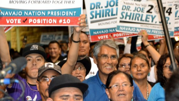 Former Navajo Nation President Joe Shirley Jr. took first place in the tribal primary election on Aug. 26, 2014. Shirley and his supporters entered the Window Rock, Ariz., Sports Center and claimed victory when 102 of the 110 chapters/precincts had reported their unofficial election results. Photo by Marley Shebala. (Please provide proper photo credit when reusing photo.)