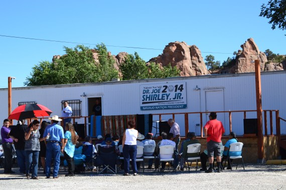 People gathered at Navajo Nation presidential political candidate Joe Shirley Jr.'s campaign headquarters in Window Rock, Ariz., to hear Shirley announce his running mate on Sept. 2, 2014. Photo by Marley Shebala. (Please provide proper photo credit when reusing photo.)