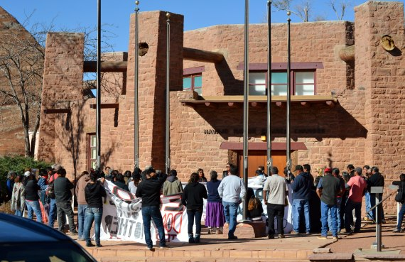 Navajo families from the Hopi Partition Lands walked to the Navajo Council chambers from the Window Rock, Ariz., Mini-Mall on Oct. 30, 2014, to testify to Navajo President Ben Shelly and Council delegates about the abusive treatment of Hopi government police and U.S. Interior Department Bureau of Indian Affairs rangers, who having been conducting pre-dawn raids on the Navajo families that have resulted in the arrest of Navajo people and confiscation of livestock. Photo by Marley Shebala (Please provide proper credit when re-using photo.)