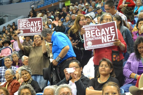 Spectators at the inauguration of Navajo President Russell Begaye and Vice President Jonathan Nez react to Begaye and Nez taking their oath of office at the Fighting Scouts Events Center in Fort Defiance, Ariz., on May 12, 2015. Photo by Marley Shebala