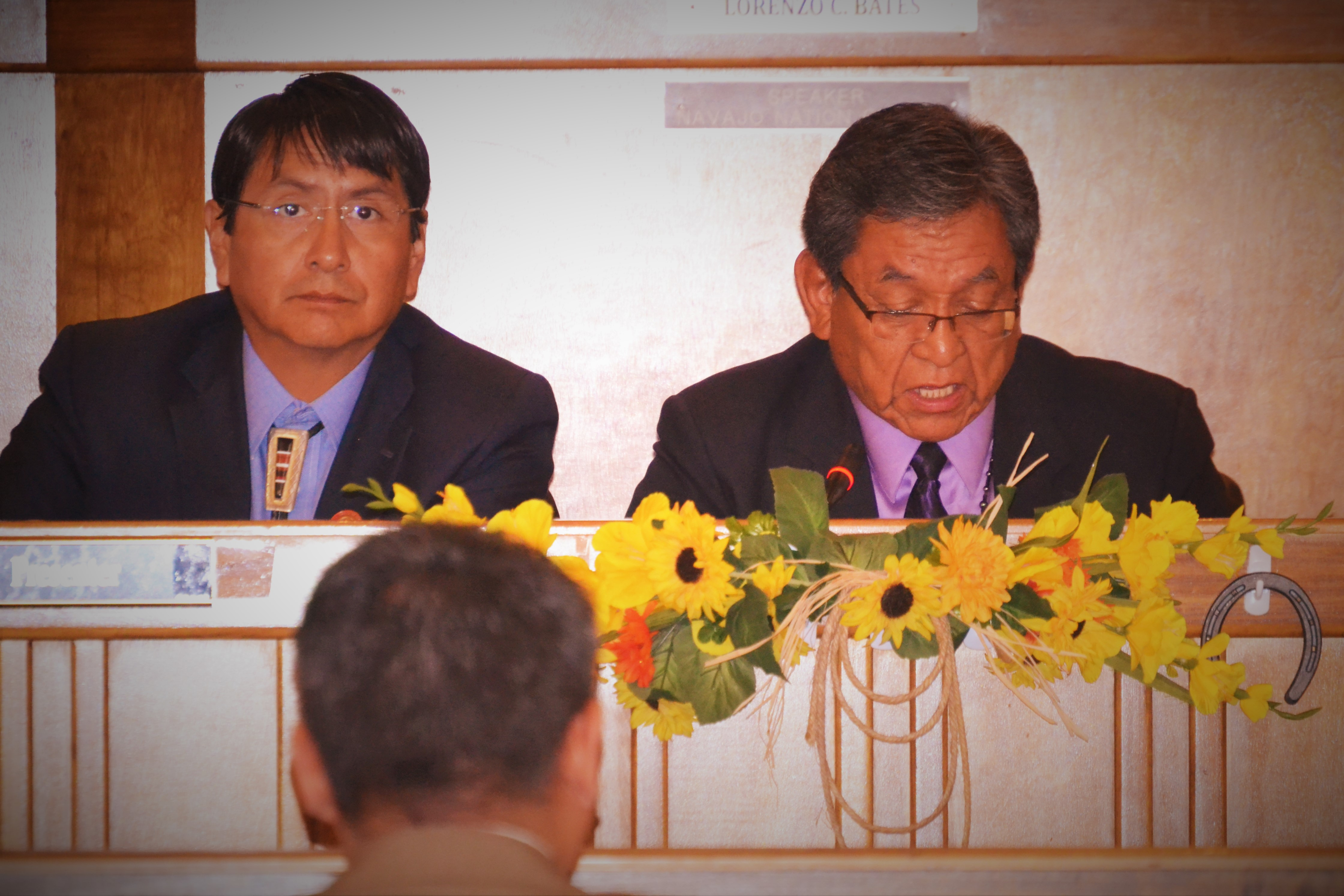 Navajo Nation Vice President Jonathan Nez and President Russell Begaye present their State of the Nation Address to the Navajo Nation Council during day one of summer session in the Council chambers in Window Rock, Ariz., on July 18, 2016. Photo by Marley Shebala