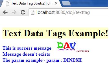 Struts 2 Text Tag Example