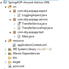 Spring AOP Around Advice Example using XML Config