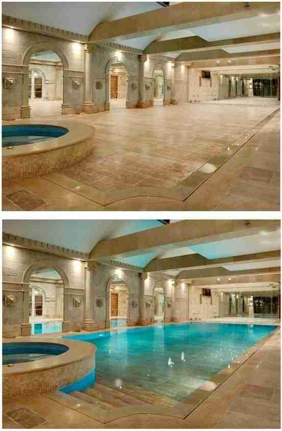 Ένα όμορφο δάπεδο που κρύβει μια εσωτερική πισίνα.