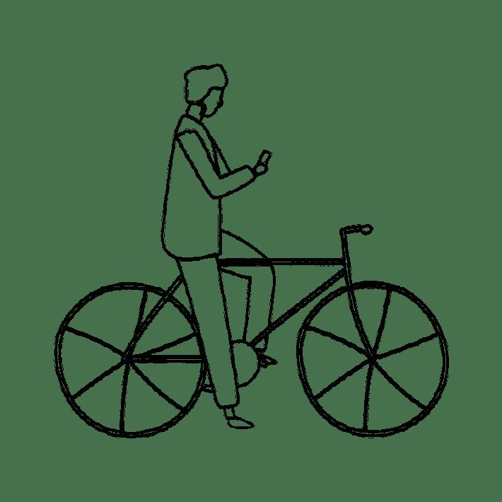 Croquis homme vélo smartphone Arcachon DINGOVELOS