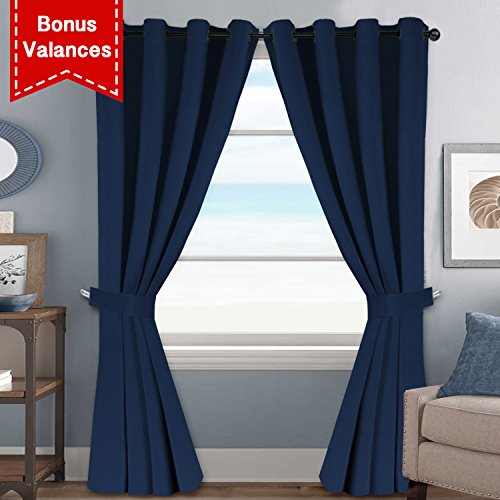 HVERSAILTEX True Navy Solid Thermal Insulated Grommet Blackout CurtainsDrapes Set For Bedroom