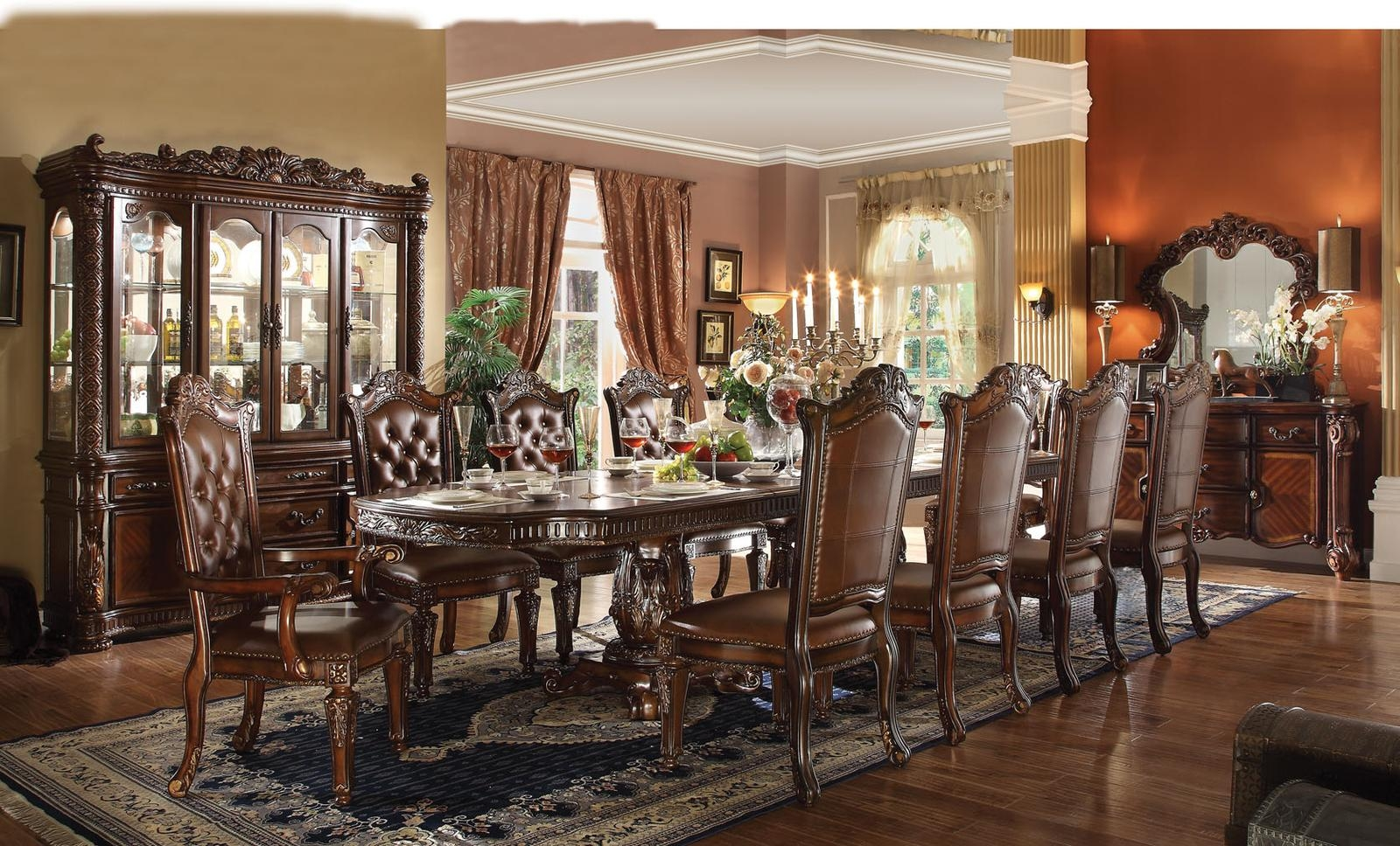 Acme Vendome 11PC Double Pedestal Dining Room Set In Cherry By Dining Rooms Outlet