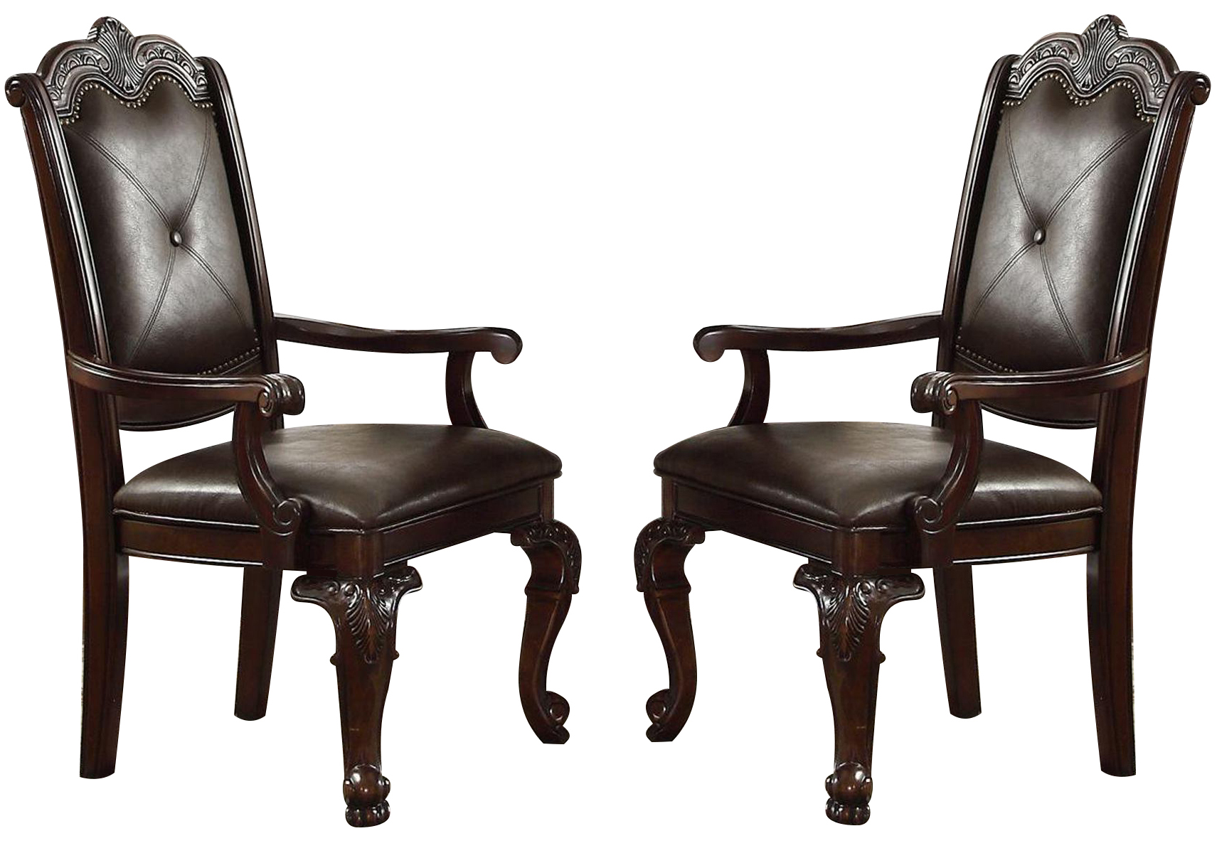 Crown Mark Kiera Dining Arm Chair In Warm Brown Set Of 2