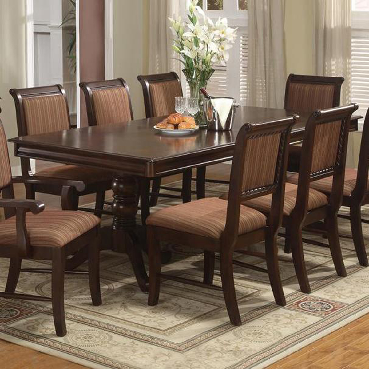 Crown Mark Merlot Double Pedestal Dining Table 2145T SET