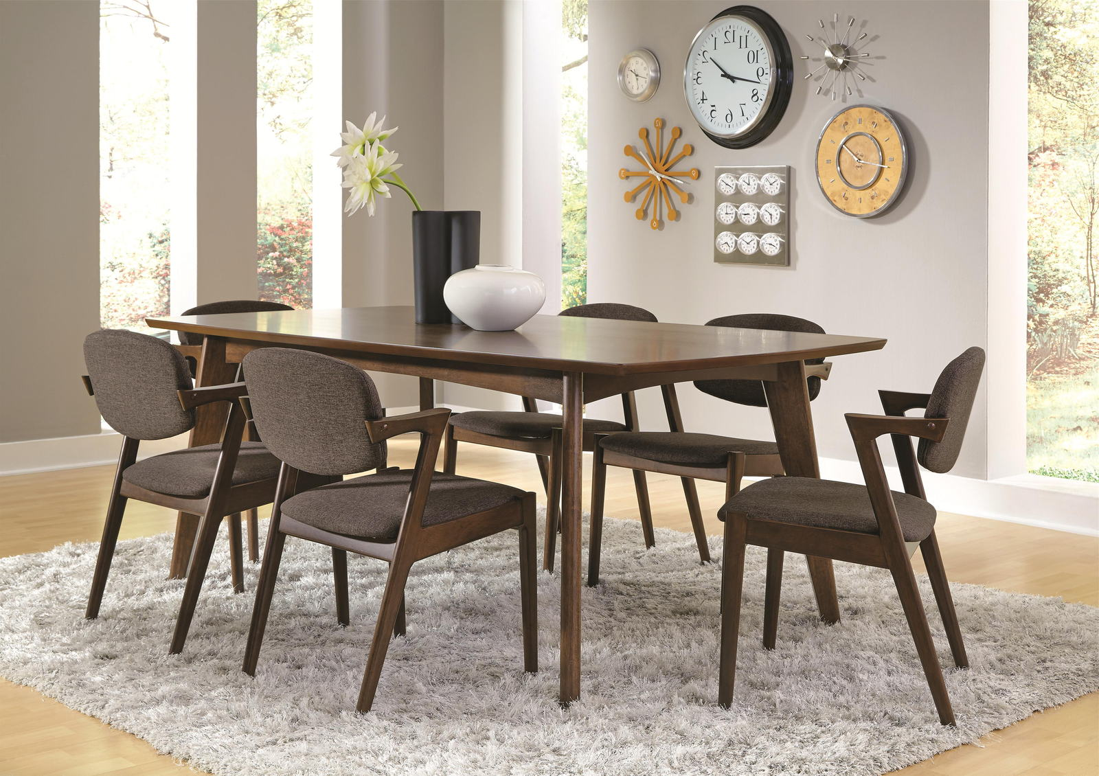 Coaster Malone Mid Century 7 Piece Dining Room Set In Dark Walnut By Dining Rooms Outlet